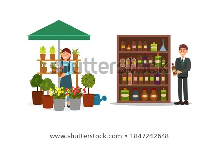 Young Woman Selling Flowers at Marketplace Vector Stock photo © robuart