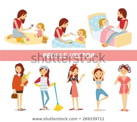 Foto stock: Mamãe · criança · leitura · bebê · adormecido