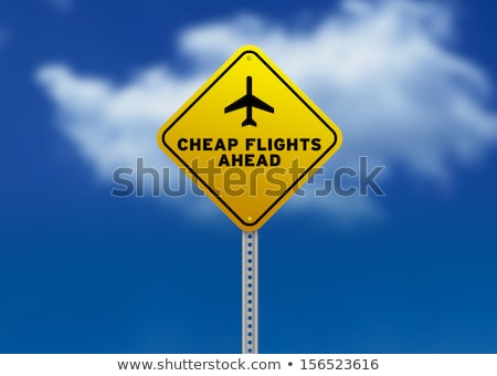 Stock photo: Cheap Flights Ahead Road Sign