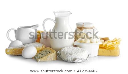latte · formaggio · tavolo · in · legno · top · view - foto d'archivio © jossdiim
