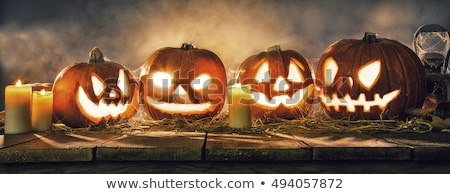 scary halloween banner with laughing pumpkins design Stock photo © SArts