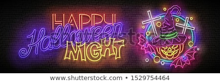 Glow Halloween Greeting Card with Witch Pumpkin, Crosses, Bats a Stock photo © lissantee