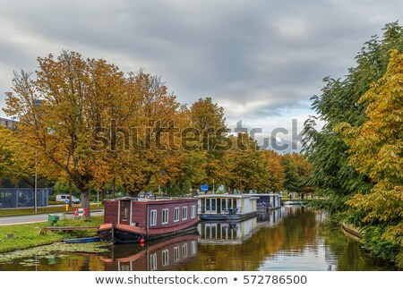 channel with barges, Leiden, Netherlands Stock photo © borisb17