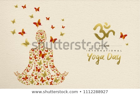 Yoga Day card of gold people in lotus pose Stock photo © cienpies