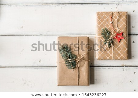 Christmas background with two packed and wrapped giftboxes with conifer on top Stock photo © pressmaster