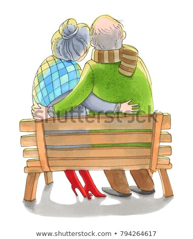 Casal velho sessão banco quente roupa cair Foto stock © robuart