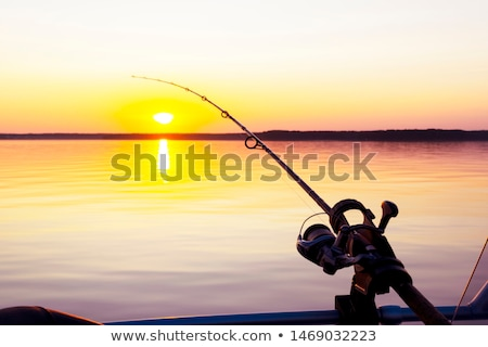 Man with Rod and Fish on it, Fishing Hobby on Lake Stock photo © robuart