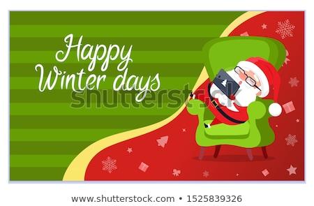 kerstman · hoed · baard · logo · witte · ontwerp - stockfoto © robuart