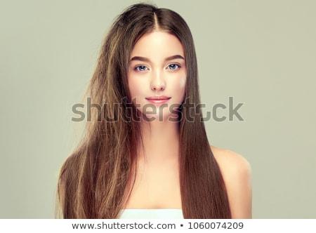 Arc divatos szőke nő napszemüveg vörös ruha egészség Stock fotó © microolga