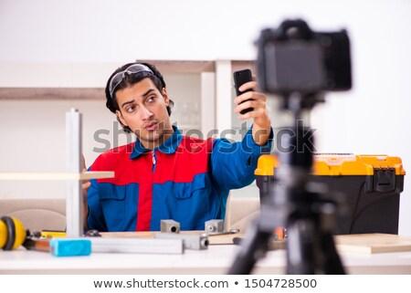 Fiatal beszállító videó blog internet fa Stock fotó © Elnur