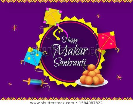 kite and string spool makar sankranti banner design Stock photo © SArts