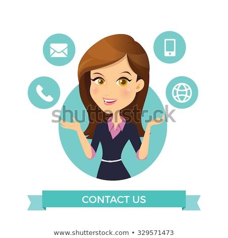 Boldog ügyfélszolgálat recepciós rajzfilmfigura vektor művészet Stock fotó © vector1st