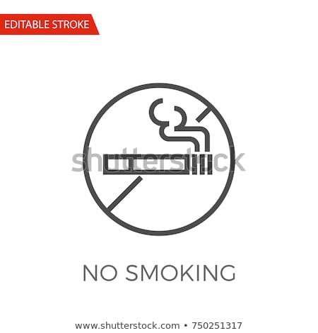 No Smoking Forbidden Sign Vector Thin Line Icon Stock photo © pikepicture