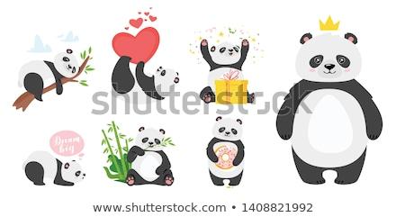 Cartoon panda eating bamboo Stock photo © tigatelu