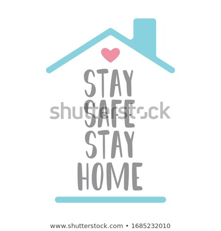 Font design for word stay home quarantine on white background Stock photo © bluering