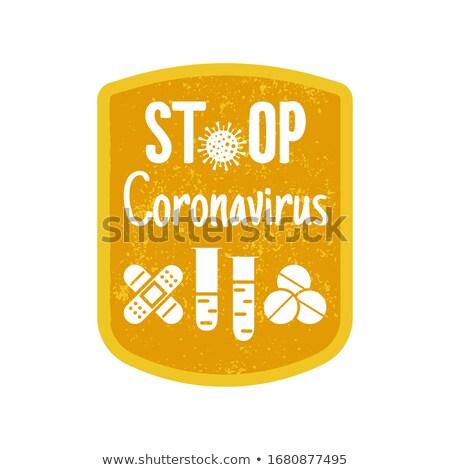 Koronavírus vigyázat kitűző biztonság tanács címke Stock fotó © JeksonGraphics