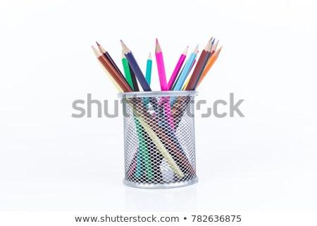 Stock foto: Pens And Pencils In Pot