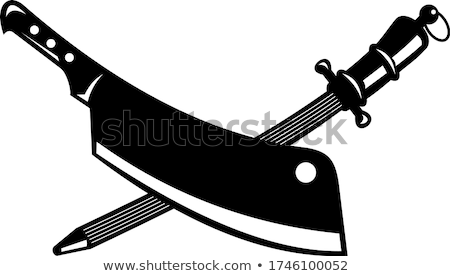 Crossed Butcher Knife Meat Cleaver and Sharpener Steel Rod Retro Woodcut Black and White Stock photo © patrimonio
