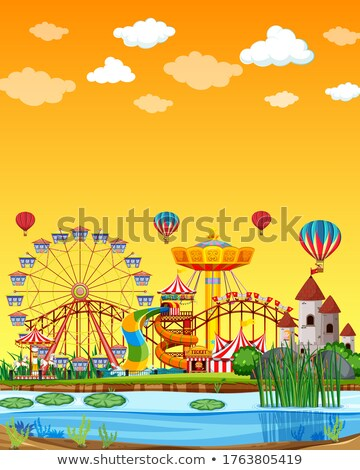 Amusement park with swamp scene at daytime with blank yellow sky Stock photo © bluering