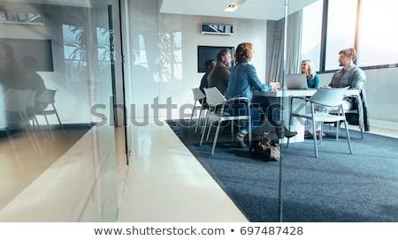 Gruppe Menschen Sitzung Überwachung Web Sicherheit Internet Stock foto © ra2studio