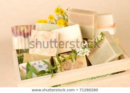 Groep handgemaakt zeep houten vak natuur Stockfoto © Ansonstock