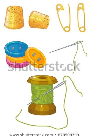 Vingerhoed naald traditioneel naaien jute oppervlak Stockfoto © angelsimon