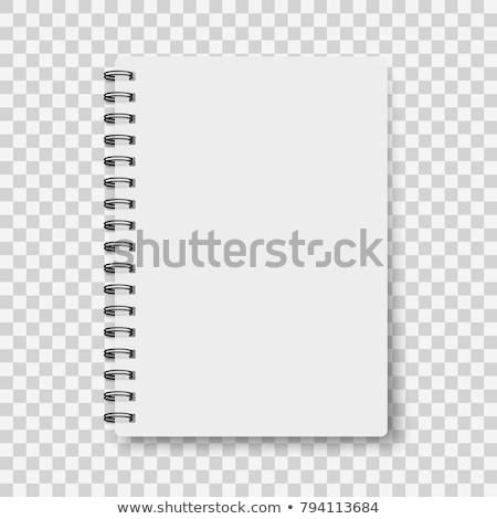 nyitva · üres · notebook · fehér · fa · asztal · csésze - stock fotó © filipw