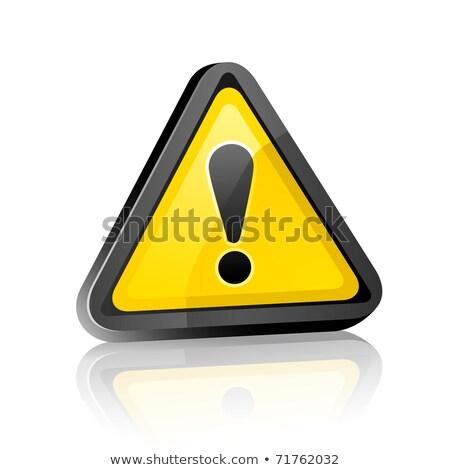 Set of three dimensional Warning Hazard Signs Stock photo © Ecelop