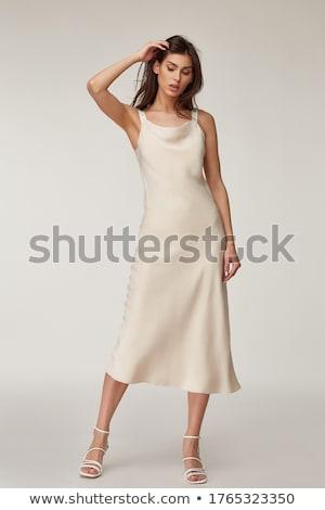 Elegáns ruha fehér gyönyörű izolált zöld Stock fotó © lypnyk2