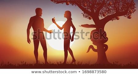 Eredeti bűn meztelen pár konfliktus féltékenység Stock fotó © smithore