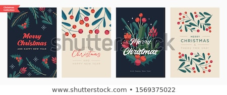 Stock fotó: Simple Christmas Card With A Blue Gift