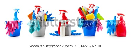 plastic bucket with cleaning supplies stock photo © almoni