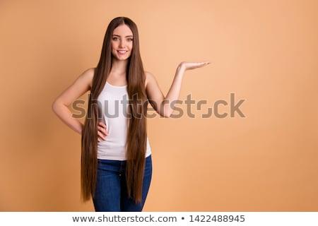 mosolygó · nő · hosszú · barna · hajú · haj · póni · farok - stock fotó © stryjek