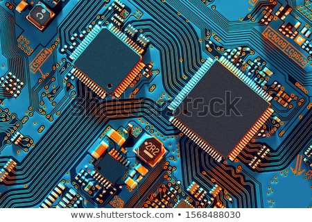 Placa de circuito pormenor azul tecnologia indústria ciência Foto stock © prill