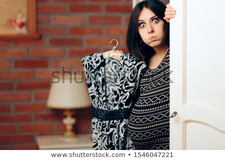 Hamile kadın uygun elbise yalıtılmış beyaz hamile Stok fotoğraf © pekour