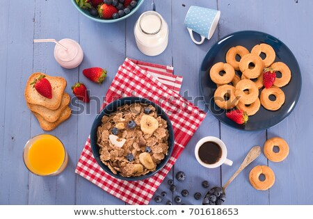 Whole grain cereal biscuits with strawberries Stock photo © fotogal
