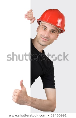 engineer holding up a blank sign stock photo © photography33