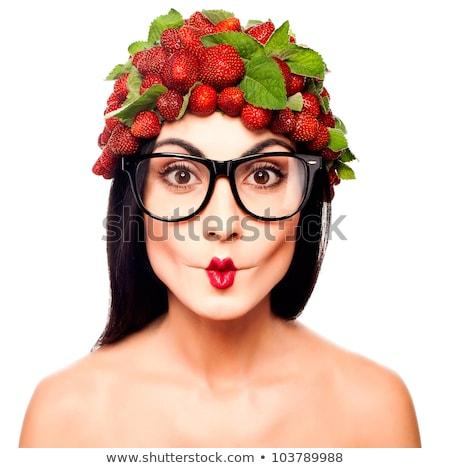 Arc piros eper gyönyörű ajkak fehér Stock fotó © feedough