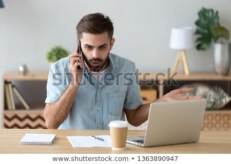 Problémás lehangolt üzletember készít hívás férfi Stock fotó © lovleah