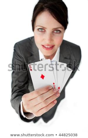 encantador · empresária · cartas · de · jogar · óculos - foto stock © stockyimages