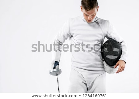 atleta · espada · máscara · gris · velocidad · oro - foto stock © pedromonteiro