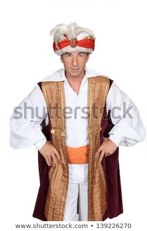 Mann genie Kostüm Feder hat östlichen Stock foto © photography33