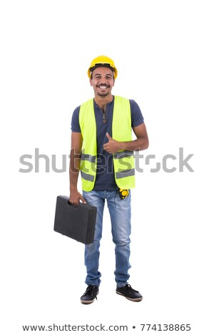 worker with tools bag showing thumbs up stock photo © stockyimages