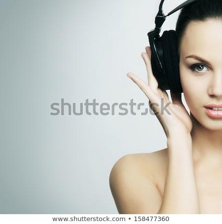 Esmer ayar radyo kadın teknoloji dijital Stok fotoğraf © photography33