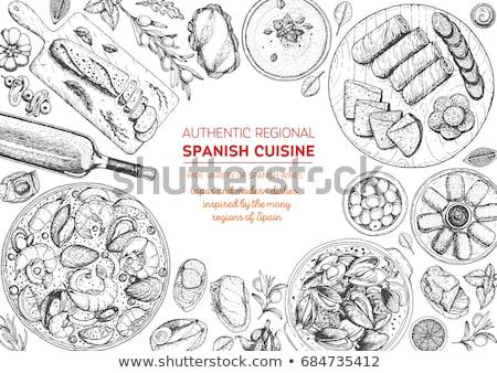 Płyty hiszpanski tapas tabeli pełny tradycyjny Zdjęcia stock © sumners