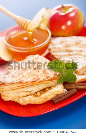 apple cakes on plate honey and apple pieces around stock photo © icefront