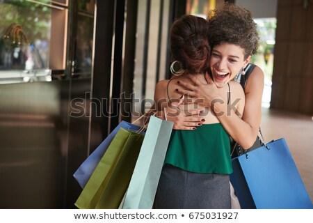 Foto stock: Mulher · cara · compras · dentes