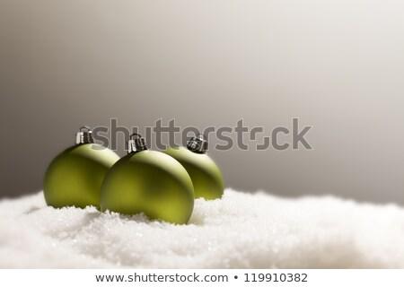 zöld · karácsony · díszek · hó · szürke · pelyhek - stock fotó © feverpitch
