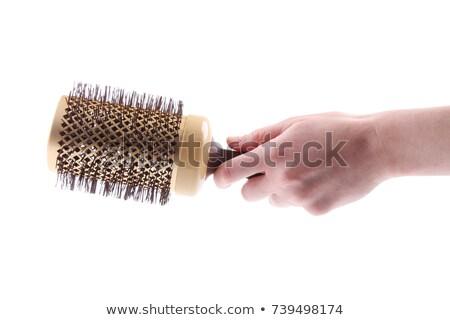 spazzola · per · capelli · setola · isolato · bianco · mano · capelli - foto d'archivio © timbrk