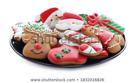 válogatás · karácsony · sütik · asztal · étel · gyertya - stock fotó © inganielsen